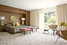 Mid century modern bedroom, love the shag carpet, drapes, all!