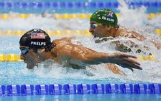 Although Phelps poured it on in the men's 200m butterfly, Chad le Clos, South Africa, edged him out at the end to take the gold.