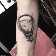 Markered Light Bulb Tattoo