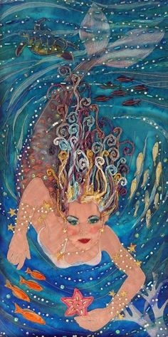 Mermaid swimming with the fish and turtle. Cool painting idea.