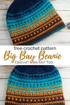 Crochet Big Bay Beanie - Crochet 365 Knit Too Crochet hat pattern made with Caron Pantone yarn. Free pattern by Crochet 365 Knit Too. Easy Crochet Hat, Crochet Beanie Pattern, Crochet Cap, Knit Or Crochet, Crochet Scarves, Crochet Crafts, Crochet Clothes, Crochet Stitches, Free Crochet