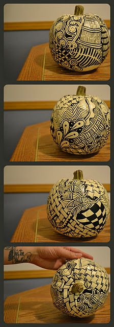 Zentangle on white pumpkin.  @Libby Norcross This totally made me think of you!!! Sharpie away!!!!