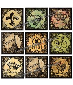Love these images! Maybe on the bottom of the bottlecaps?! Alphabet Tile Images -French Accent