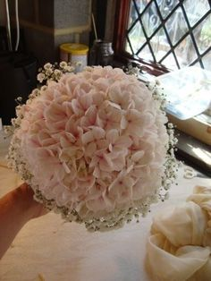 Bridesmaids Bouquet - I would want pink hydrangeas with baby's breath mixed in, not on the outside.