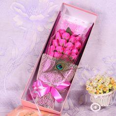 2016 19 unids espuma Artificial jabón flores color de rosa ramos decoración de la boda de san valentín día de la madre de cumpleaños esposa niza regalo de la flor