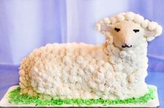 How cute is this?     Blue Owl Bakery  - lamb cake for Easter  from Straub's  - St. Louis