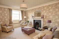 Living room design idea purple, beige, nina campbell wallpaper. Sally Homan for Robertson Lindsay Interiors