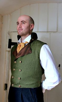 The Thornhill -  Green and Brown Steampunk Mens XL Wedding Waistcoat via Etsy (Neat vest)