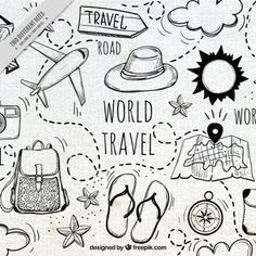 travel drawing Travel makes one modest, you see what a tiny place you occupy in the world. freepic travel traveller travelling world road foodie foodporn hotel restaurant 768426755156322791 Doodle Drawings, Doodle Art, Doodle Frames, Free Pic, Travel Doodles, Travel Icon, Travel Style, Travel Drawing, Cool Backgrounds