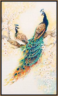 Persian Garden Peacocks Cross Stitch Kit. I'm amazed how many different peacock cross stitch patterns there are. I love the orange in this one's tail.