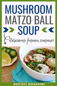 If you love fusion cuisine, you'll love this asian matzo ball soup. It's a delicious blend of matzo dumplings with a fragrent broth filled with shiitake mushrooms. King Oyster Mushroom Recipe, Best Mushroom Soup, Mushroom Side Dishes, Best Mushroom Recipe, Mushroom Soup Recipes, Matzo Ball Soup Recipe, Mushroom Appetizers, Matzo Meal, Stuffed Mushrooms