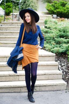 MaryPolka | A Fashion and Lifestyle Blog http://marypolka.com/fall-mode/ @dresslink  #ootd #fashion #fashionista #fashionblogger #zara #zarashirt #breakingbad #jeans #chanel #blazer #bluehat #denim #falloutfit #brownskirt #necklace #dresslink #statementnecklace #chic #casual #outfit #outfitoftheday #style #inspiration #outfitinspiration #streetstyle #streetstylefashion