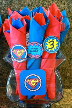 Napkin rings for super hero theme