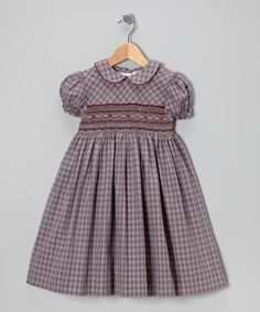 Take a look at this Grape & Maroon Plaid Smocked Dress - Infant, Toddler & Girls by Angel Kids on #zulily today!