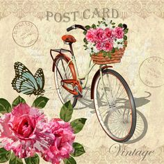 Vintage background with roses,butterflies and bicycle. Happy Name Day, Printable Lables, Mixed Media Tutorials, Singing Happy Birthday, Decoupage Vintage, Rose Wallpaper, Tomorrow Will Be Better, Background Vintage, Fabric Painting