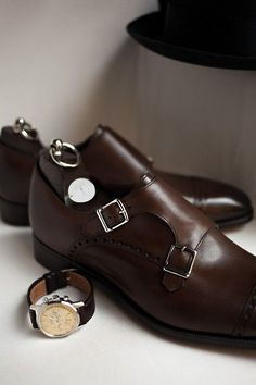 Dark brown monstrap shoes