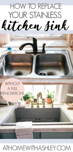 Kitchen Sinks Remodeling How to Upgrade your Kitchen Sink - at home with Ashley - How to Upgrade your Kitchen Sink. Do you have a stainless steel sink you hate? Guess what- you can replace it with a large quartz sink that is deep and modern. Replacing Kitchen Sink, Best Kitchen Sinks, Drop In Kitchen Sink, Kitchen Sink Faucets, Cool Kitchens, Kitchen Tips, Ikea Kitchen Sink, Kitchen Ideas, Stainless Steel Kitchen Sinks