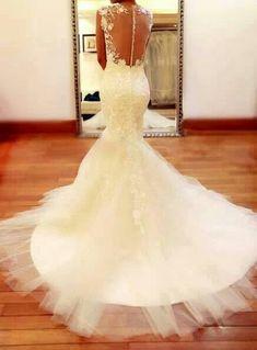 Open back, lace, mermaid wedding dress  