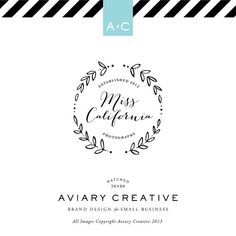 """I like it to say """"established and then """"Design below"""" and the artistic simplicity of the wreath Pre-made Logo Design """"Miss California"""" Boutique Graphic Design / Custom Branding Photoshop, Lightroom, Graphic Design Branding, Logo Branding, Typography Design, Web Design, Logo Inspiration, Lettering, Logo Typo"""