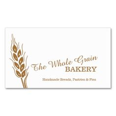 Bakers bakery wheat grain business cards. Graphic and design by www.sarahtrett.com
