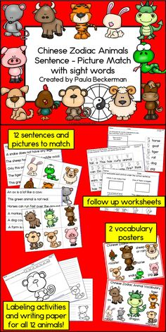 Perfect for Chinese New Year, this set of 12 sentences and picture to match is a quick, easy, and fun literacy center for your primary grade students. Includes resource pages for all 12 animals, so it can be used every year!  48 pages of learning, TpT $