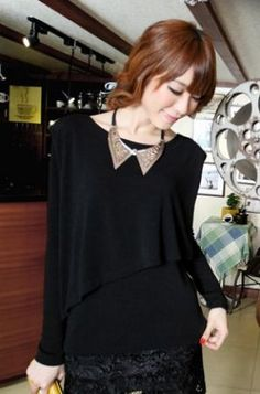 Black Shoulder Pad Long Sleeve Asymmetric Layered T-shirt - Sheinside.com