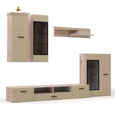 Σύνθεση TV 5 τεμαχίων, Sonoma-latte, με τζάμι, καμπυλωτό MDF τελείωμα στις πόρτες. Έπιπλο ΤV 200x45.3x31.7, βιτρίνες 38x35x110, ράφι 110x23.6x25, βιτρίνα 2 πόρτες 75.7x35x110. Από την Alphab2b.gr Entryway, Living Room, Latte, Furniture, Home Decor, Products, Entrance, Decoration Home, Room Decor