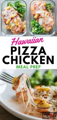 Hawaiian Pizza Chicken Meal Prep - This fun low-carb pizza is a great high protein meal! Top a chicken breast with pizza sauce, cheese, and your favorite toppings. This version uses ham and pineapple for a fun Hawaiian twist. #mealprep #pizza #lowcarbpizz