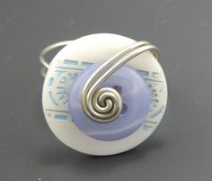 White and Blue Button Ring  Wire Wrapped by TrinketsNWhatnots, $20.00