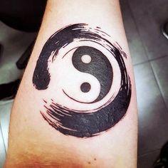 Mens Yin Yang Enso Inner Forearm Tattoos