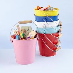 Colourful buckets make cute storage: by The Land of Nod