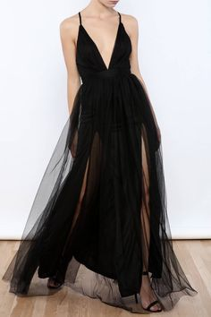 Deep v-neck dress with a layered tulle skirt, crisscross back straps and a zipper closure. Tulle Maxi Dress by luxxel. Clothing - Dresses - Maxi New York City Manhattan, New York City
