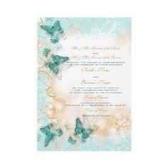 Butterfly theme wedding aqua gold custom invites by mensgifts