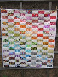 Estilos & Tendencias: Edredones y Colchas Patchork -- scrappy rainbow colorful easy quilt