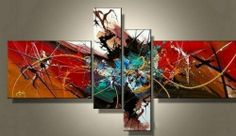 Amazon.com - Red and White Abstract Art 4 Piece Canvas Art 100% Hand Painted Art Abstract Oil Painting Group Painting Artwork Wall Art Free Shipping Gallery Wrapped Ready to Hang -