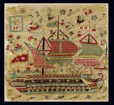 Embroidered bridal cushion with depiction of three-masted schooner, from Skyros, a Sporades island. Embroidery Art, Cross Stitch Embroidery, Embroidery Designs, Benaki Museum, Small Flags, Turkish Art, Turkish Style, Cross Stitch Samplers, Greek Art