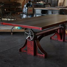 Vintage Industrial - Bronx Crank Table This company makes FANTASTIC industrial chic furnishings, this is my fav
