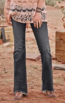 You'll love the chic accents on these attention-grabbing Driftwood flared black jeans.