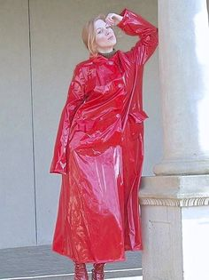 red and shiny from pvc raincoat fetish pinterest and eroclubs #RaincoatsForWomenHoods