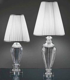 OR Lampada da tavolo in vetro con paralume 242/LP CR c