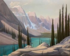 Ken Harrison - A Morning at Moraine 48 x 60 Oil on canvas (2021) Canadian Artists, Oil On Canvas, Tapestry, Landscape, Gallery, Artwork, Painting, Fill, Hanging Tapestry
