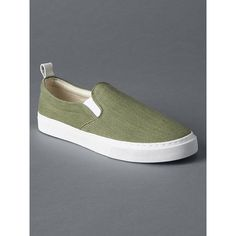 Gap Women Fabric Slip On Sneakers (61 NZD) ❤ liked on Polyvore featuring shoes, sneakers, desert cactus, regular, pull on shoes, rubber sole shoes, slip on trainers, round cap and slip on shoes