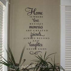 Vinyl Wall Decal Home is where love by OldBarnRescueCompany, $34.00 Etsy For the foyer....