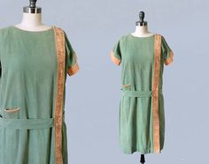 1920s Dress / 20s Cotton Day Dress / Green and Tan /