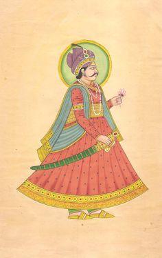 Rajasthani Maharaja Portrait Art Handmade Indian Miniature Royalty Folk Painting