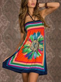 c748f1a2331 Floral Print Contrast Color Bandeau Halter Dress