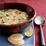 Asian Chicken Noodle Soup Recipe | MyRecipes.com Grated ginger and lemongrass give this traditional chicken noodle soup an international flair. Feel free to add extra vegetables such as mushrooms, peas, or carrots.  Yield :8 servings (serving size: 1 cup)