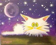 Art: White Scaredy Cat at Night by Artist Cynthia Schmidt