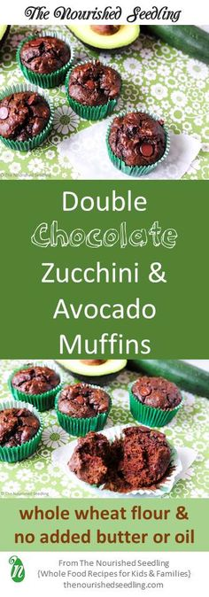 Loaded with potassium, vitamins C and E, fiber and healthy fats, these zucchini-filled chocolate muffins have no added butter or oil except for that from a whole avocado. #zucchini