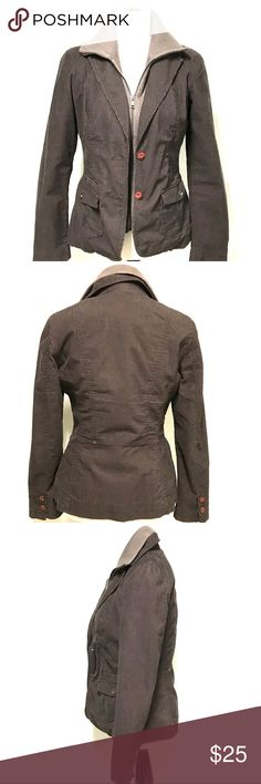 Espresso super cool corduroy jacket Too cool brown cord jacket with button in sweater that makes it look like the cord jacket is layered over a sweater. This way-- no added bulk! Esprit Jackets & Coats